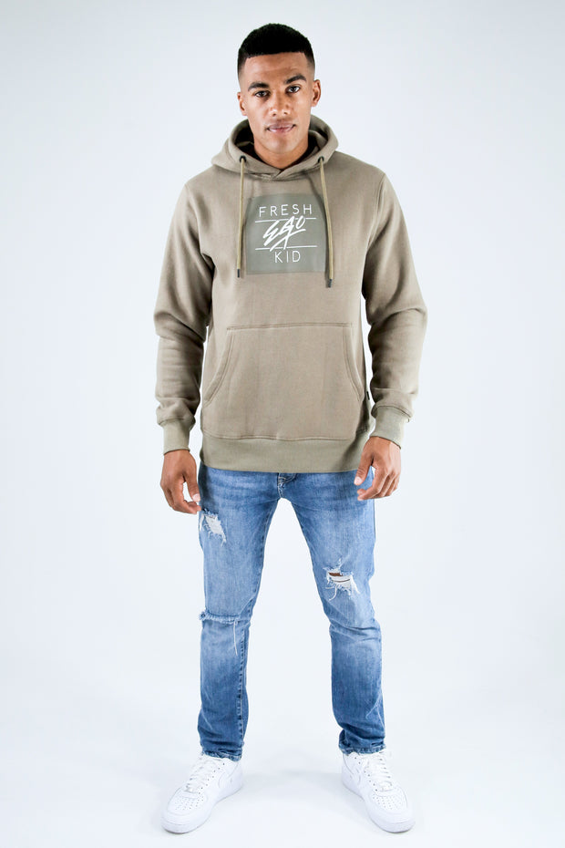 fresh ego kid  Box Logo Hoody – Khaki