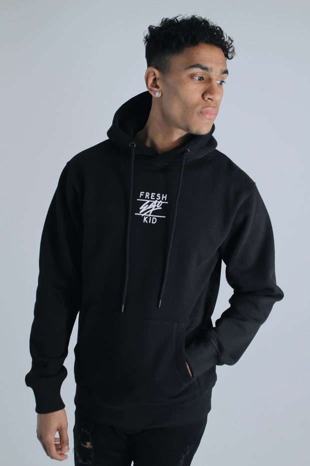 Central Logo Hoodie In Black & White