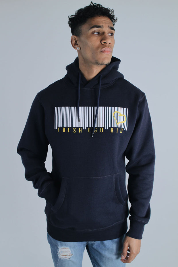 Barcode Logo Hoodie in Navy