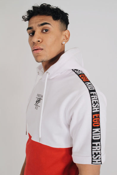 Short Sleeve Taped Hoody – White/Red