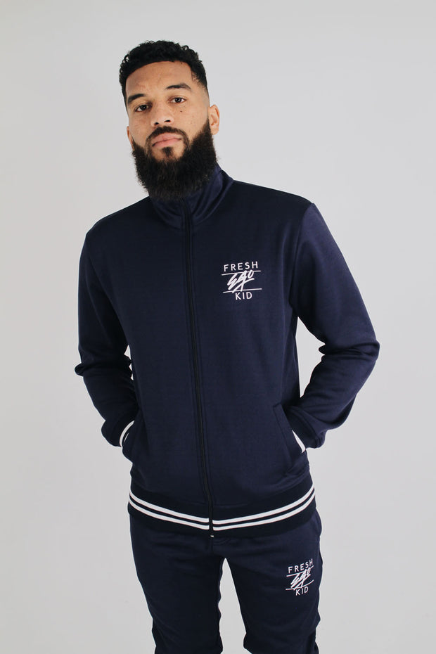 Poly Zip Up Track Top – Navy/White