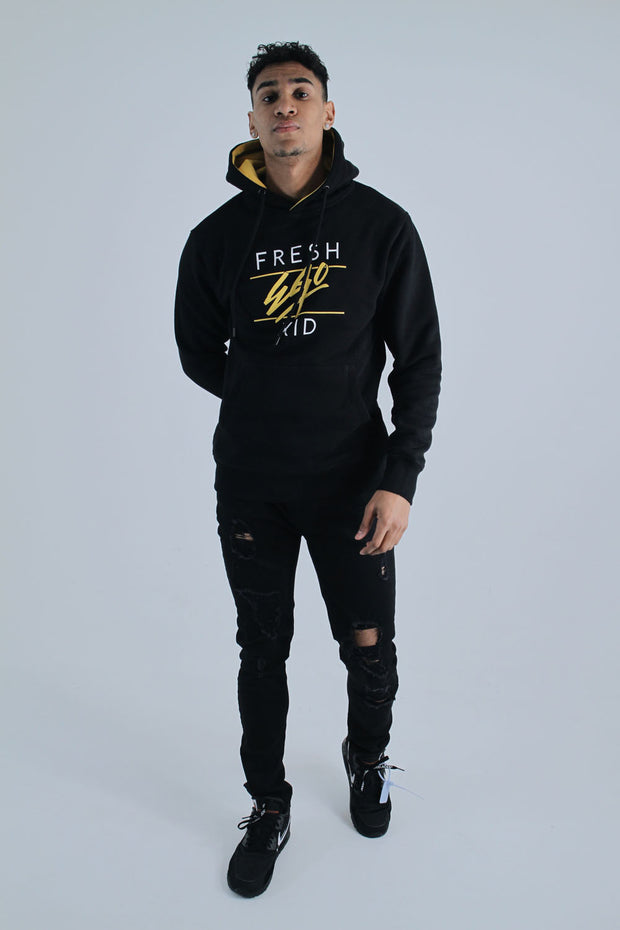 Heritage Logo Hoody - Black/Yellow