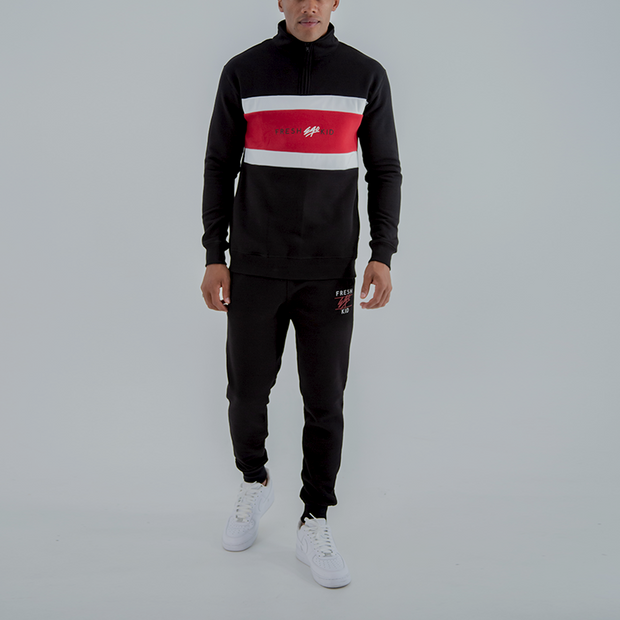 1/4 Zip Panel Sweatshirt In Black