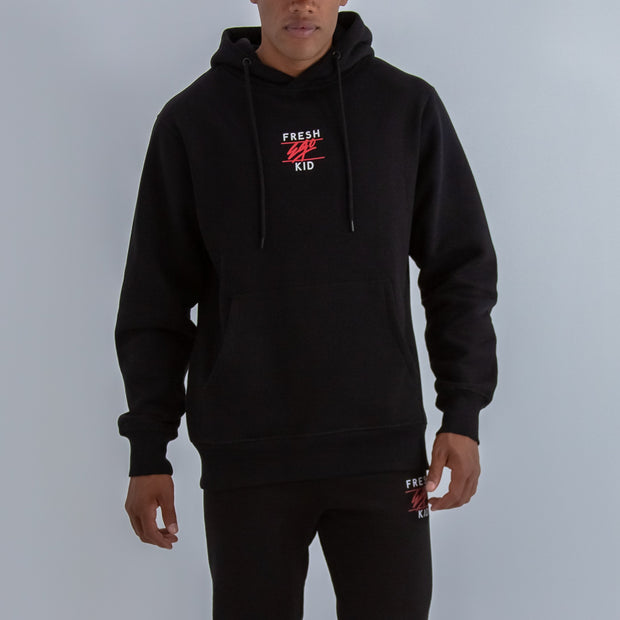 Central Logo Hoodie In Black, White & Red