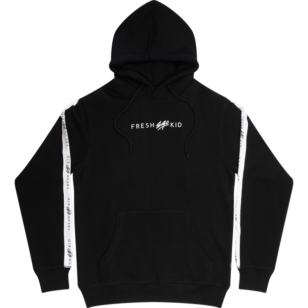 LOGO TAPE SIDE STRIPE HOODIE IN BLACK