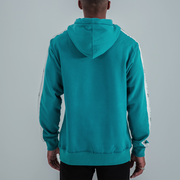 SIDE STRIPE TAPE LOGO HOODIE IN TEAL