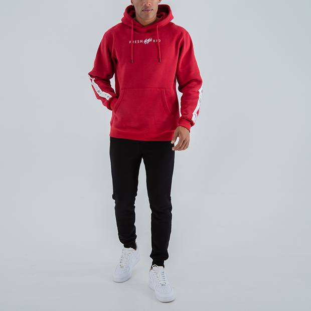 SIDE STRIPE TAPE LOGO HOODIE IN RED
