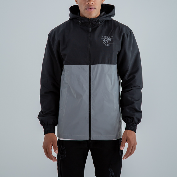 Reflective Funnel Neck Windbreaker In Black