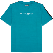 SIDE STRIPE TAPE LOGO T-SHIRT IN TEAL