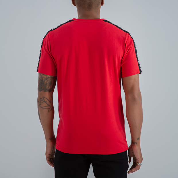 SIDE STRIPE TAPE LOGO T-SHIRT IN RED