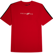 T-SHIRT WITH TAPED SIDE STRIPE IN RED