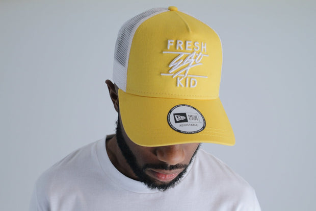 New Era Mesh Trucker – Yellow/White