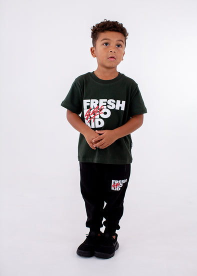 FEK Kids Khaki Green Logo T-Shirt