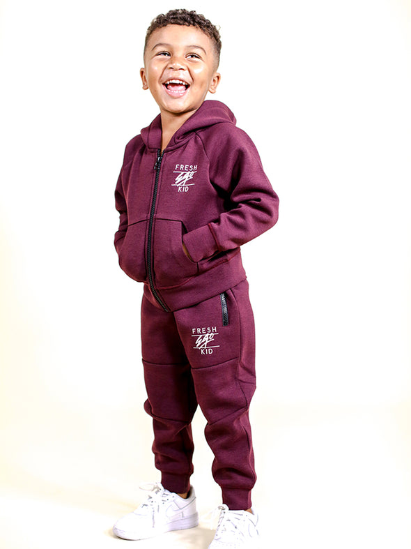 FEK Kids Burgundy Tech Tracksuit Set