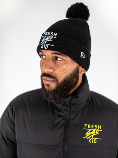 FRESH EGO KID BOBBLE HAT - BLACK/SILVER
