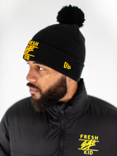 FRESH EGO KID BOBBLE HAT - BLACK/YELLOW