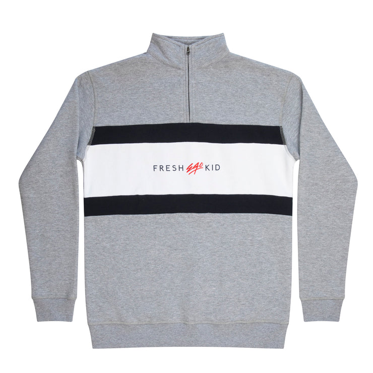1/4 ZIP PANEL SWEATSHIRT IN Grey