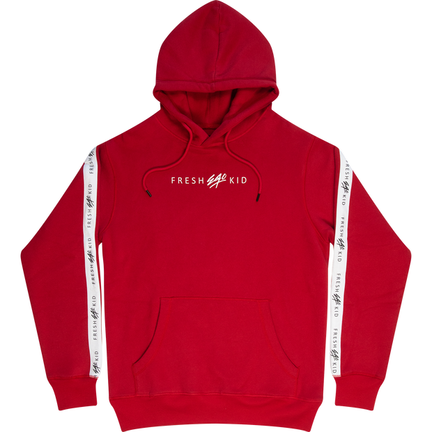 LOGO TAPE SIDE STRIPE HOODIE IN RED