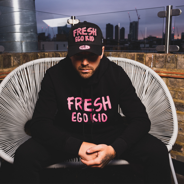 Fresh prince boucle hoodie in black & pink