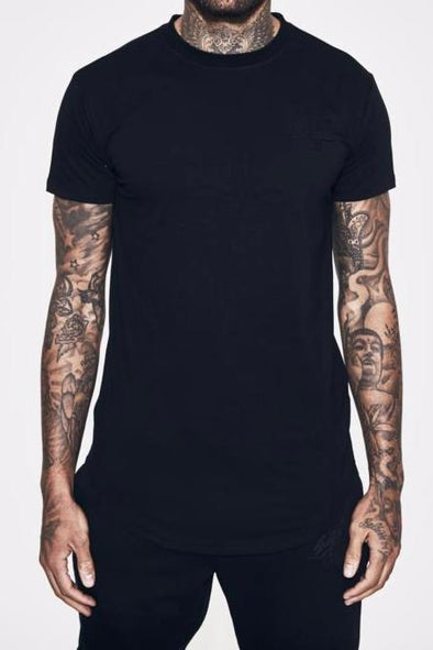 FRESH EGO KID CURVED HEM BLACK TEE