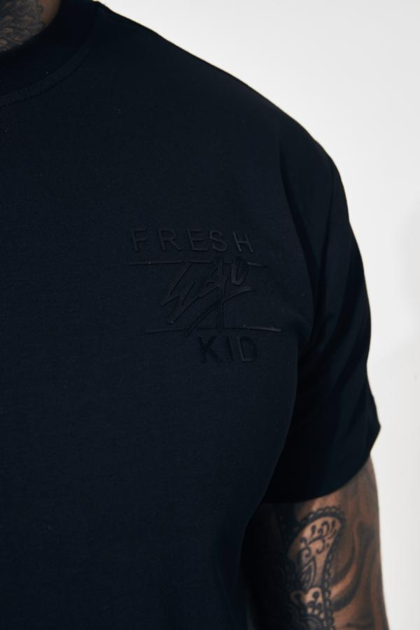 FRESH EGO KID CURVED HEM T-SHIRT - Black - Men s Tee  865ac963f00