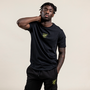 Essential t-shirt in black & lime