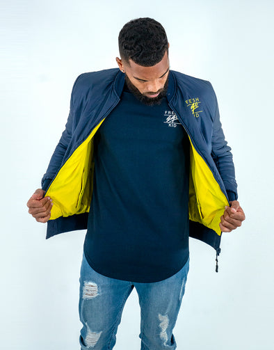 Fresh Ego Kid Navy/Yellow Reversible Bomber Jacket