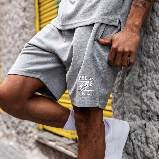 Summer set waffle shorts in grey marl