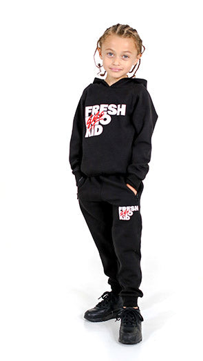 FEK Kids Black Funnel Neck Tracksuit Set