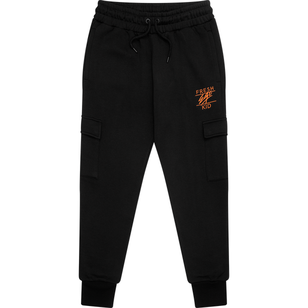 Core heritage cargo jogger in black & orange