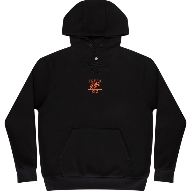 Core Heritage logo hoodie in black & orange