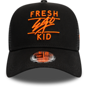 New Era trucker in black and orange