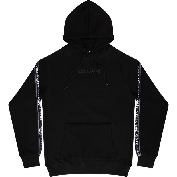 Sports tape hoodie in black