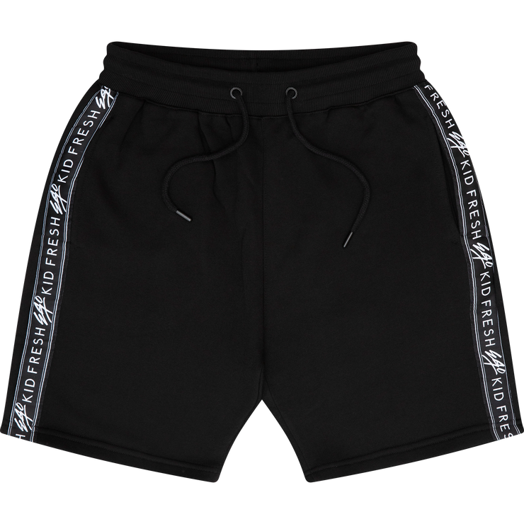 Sports tape shorts in black