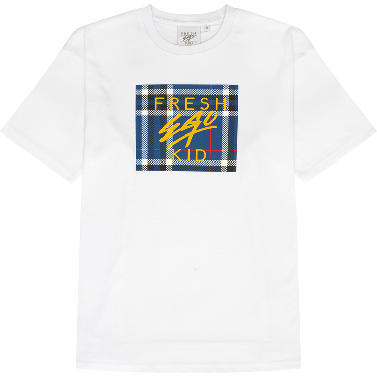 Tartan box logo t-shirt in white