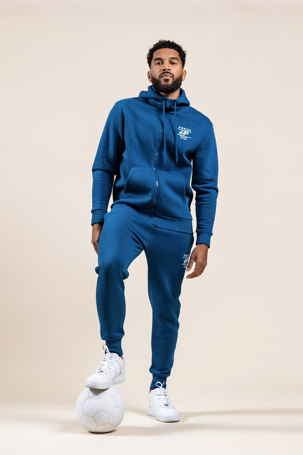 Classic chest logo zip hoodie in blue