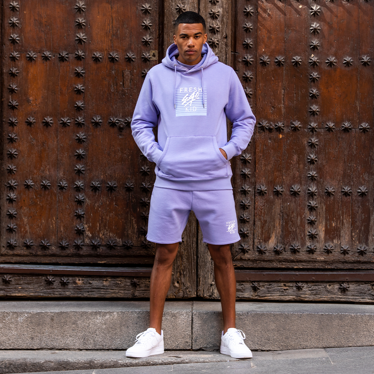 Heritage logo sweat shorts in lilac