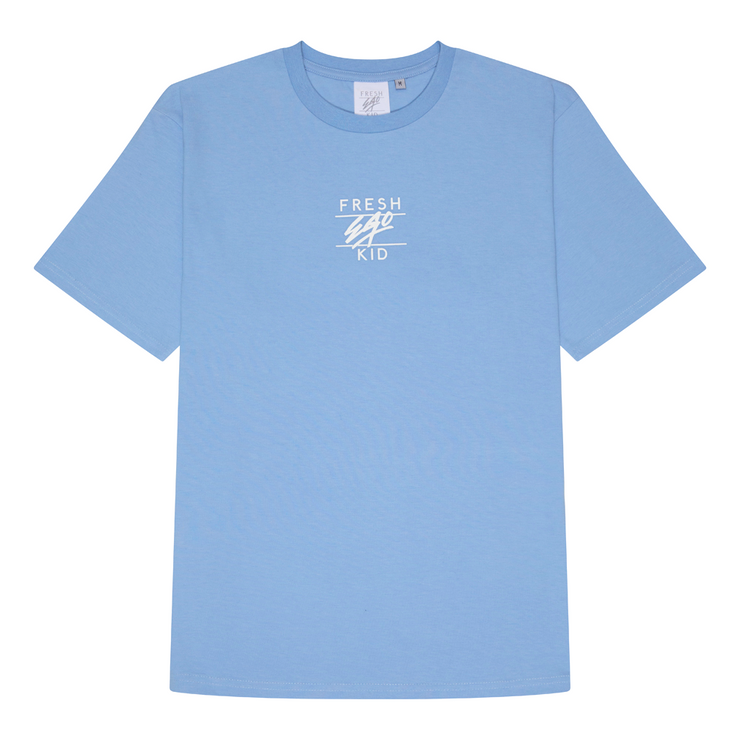 Mirage box logo print t-shirt in pastel blue