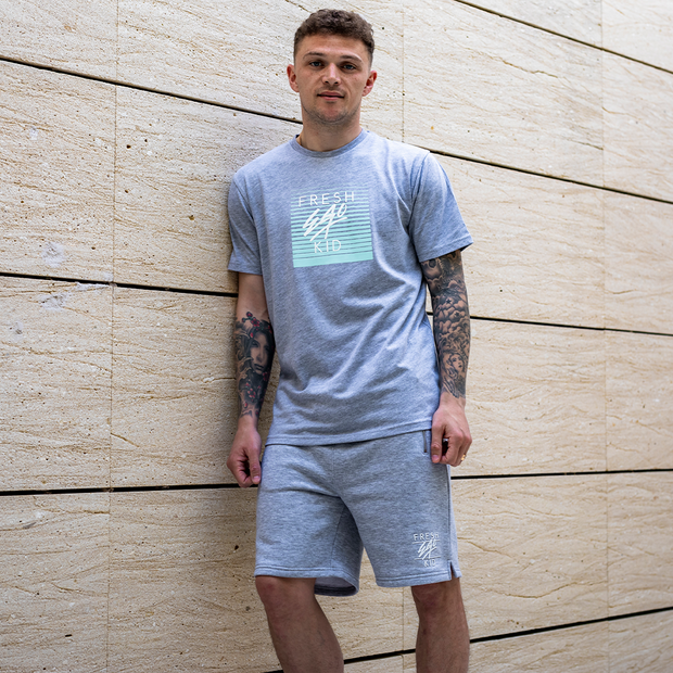Heritage logo sweat shorts in grey marl