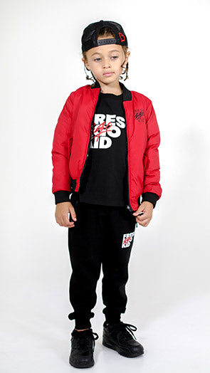 FEK KIDS REVERSIBLE BOMBER JACKET RED/BLACK