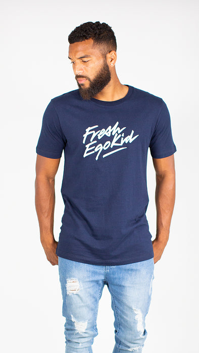 Fresh Ego Kid Navy/White Script Logo T-Shirt