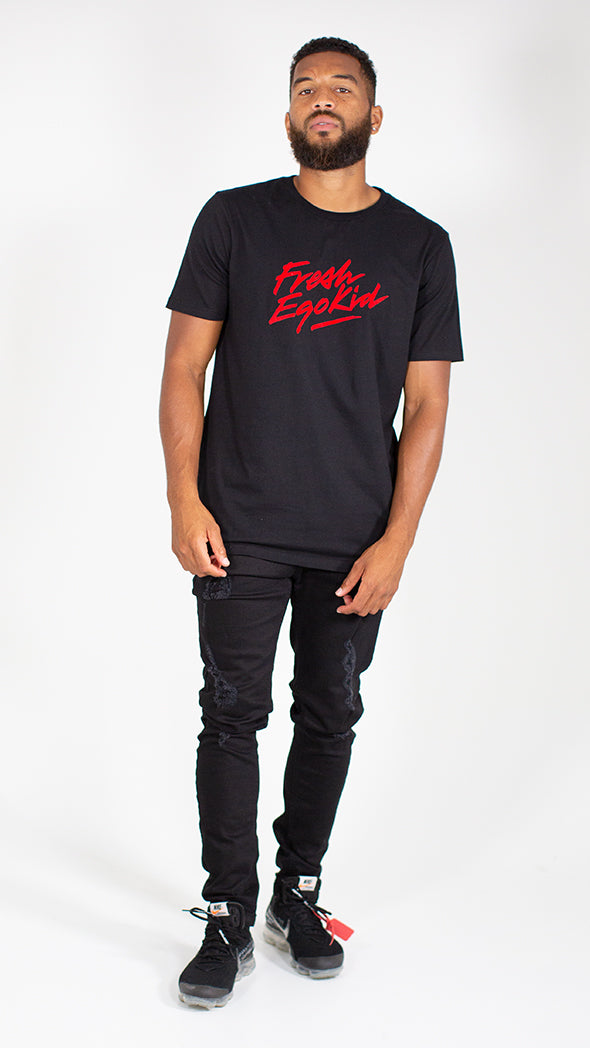 FRESH EGO KID SCRIPT T-SHIRT BLACK