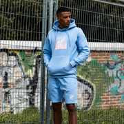 Heritage logo sweat shorts in pastel blue