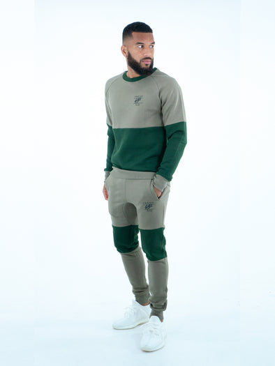 Fresh Ego Kid Green Two-Tone Sweatshirt Tracksuit Set