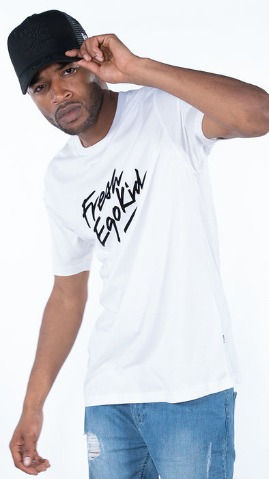 Fresh Ego Kid White/Black Script Logo T-Shirt