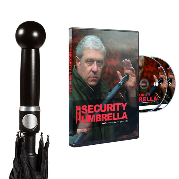 Security package No. 1: man umbrella with knob handle and the turtorial on DVD - selfdefense-umbrellaUS