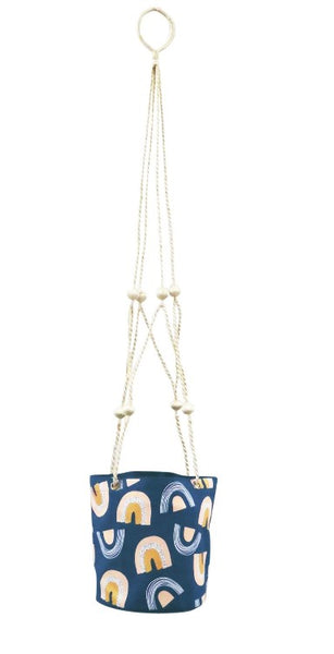 Canvas Hanging Planter Blue Rainbow