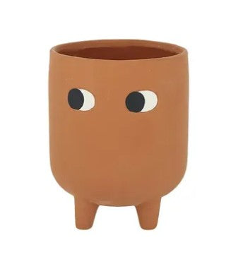 Ceramic Footed Pot with Eyes