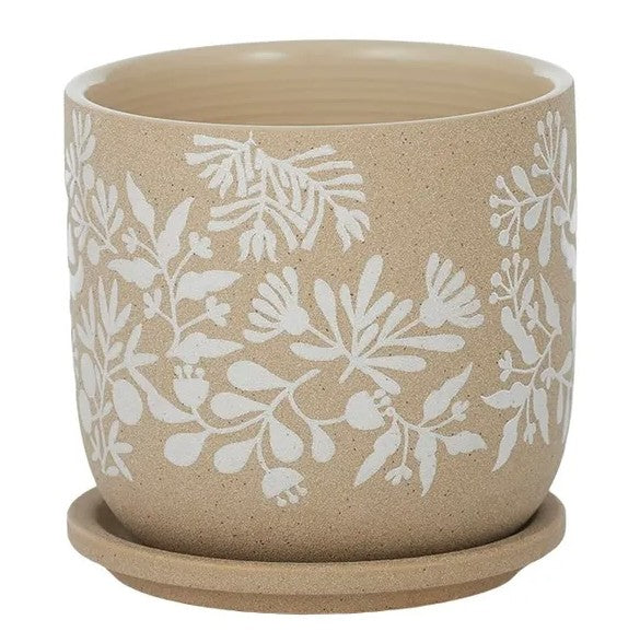 Ceramic Pot with Saucer Natural/White