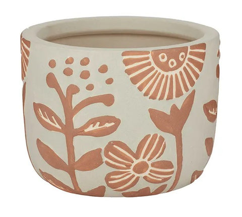 Ceramic Pot 17 x 13cms Natural/Terracotta